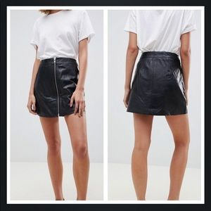 ab50a0d72 NWT Muubaa Impala Zip Front Black Leather Skirt 6